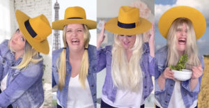 girl boss yellow hat eiffel tower laughing with salad