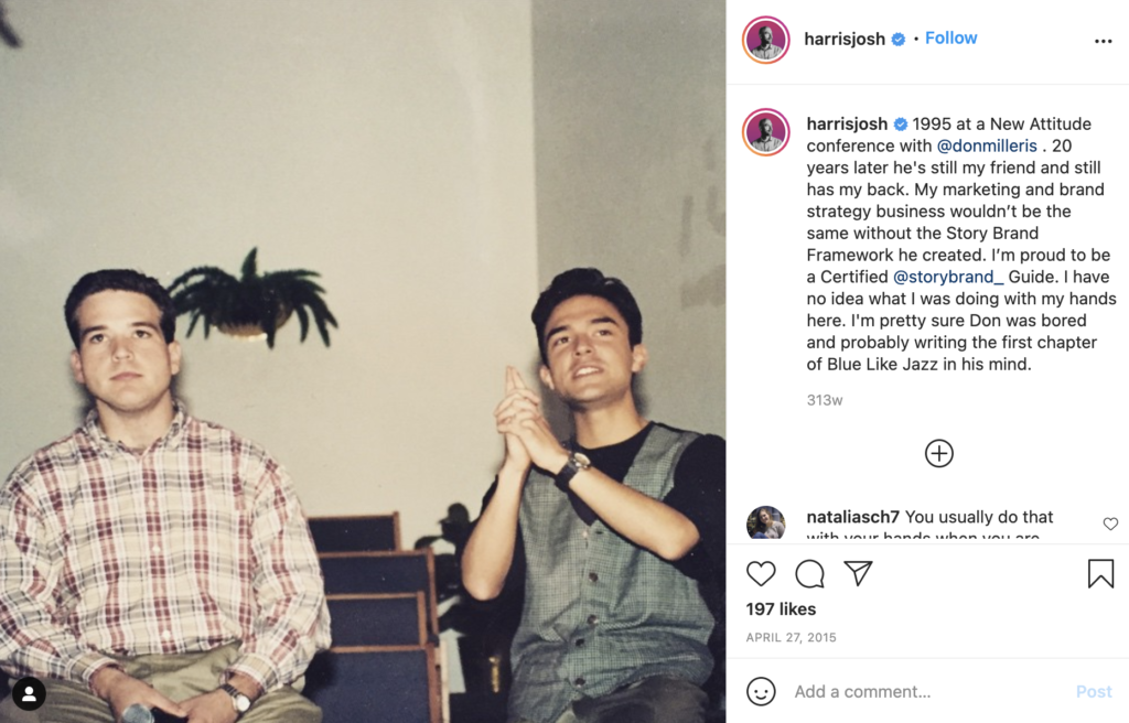 Instagram post featuring a young Donald Miller and Joshua Harris in 1995