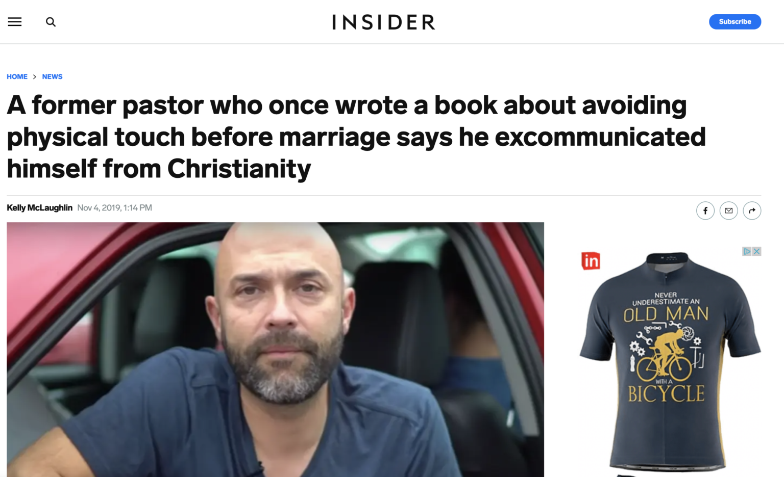"""Insider article with headline """"A former pastor who once wrote a book about avoiding physical touch before marriage says he excommunicated himself from Christianity"""""""